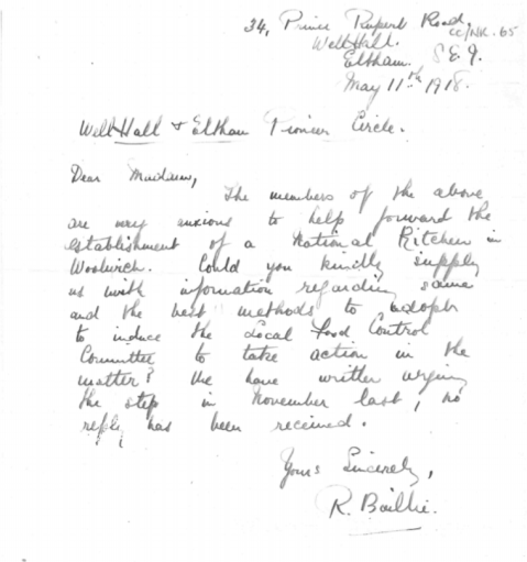 R Baillie letter to Dr Marion Phillips